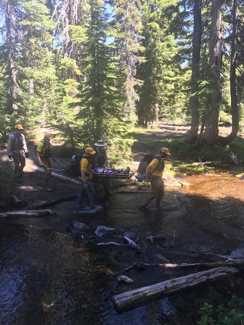 DESCHUTES COUNTY SHERIFF'S OFFICE SEARCH AND RESCUE ASSISTS INJURED TRAIL RUNNER ON GREEN LAKES TRAILHEAD